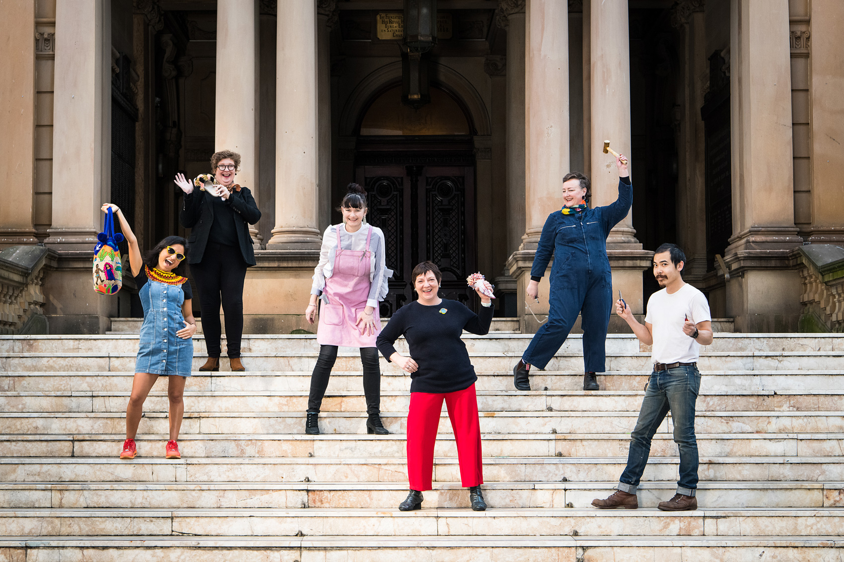 Sydney Craft Week participants at Sydney Town Hall: Marie from The Sydney Connection, Ana from Mami Watta Collections, Erin from The Bench, Nadine from MakerSpace and Co, Huon from Gaffa Creative Precinct and Karin from University of Sydney.  Photo: Rhiannon Hopley.