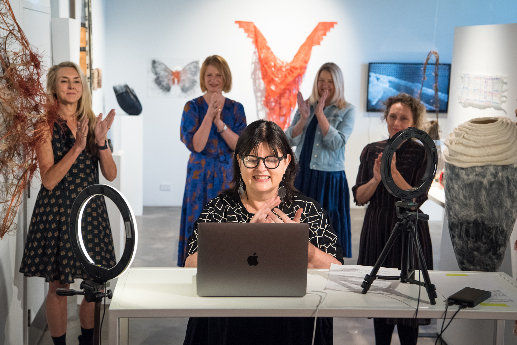 Lisa Cahill opening Seed Stitch Contemporary Textiles Awards 2020. Photo: Rhiannon Hopley.